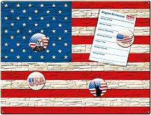 Blechschild Flagge USA mit Magnete, Geschenk Männer Frauen Freunde Dekoschild Wandschild Metallschild, Rot Bunt, 30x40 cm