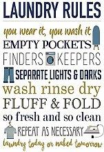 Blechschild Laundry Rules Wäsche Regeln lustig