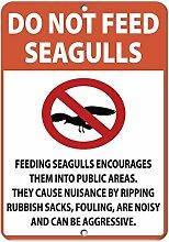 Blechschild mit Spruch Do Not Feed Seagulls