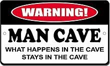 Blechschild mit Spruch Man Cave What Happens Stays