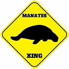 Blechschild mit Sprüchen Manatee Crossing