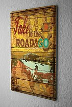 Blechschild Nostalgie Auto Retro Ampel Oldtimer Spruch Take to the Road and go Wand Deko Metall Schild 20X30 cm