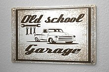 Blechschild Nostalgie Auto Retro Old-School-Garage