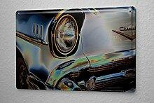 Blechschild Nostalgie Auto Retro Oldtimer Grau Wand Deko Metall Schild 20X30 cm