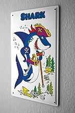 Blechschild Piraten Hai mit Augenklappe Schwert und Krückstock comic cartoons Satire 20x30 cm Metallschild Schild Wanddeko Deko Dekoration Retro Werbung