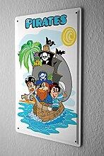 Blechschild Piraten mit Piratenschiff Totenkopf Flagge Papagei Insel comic cartoons Satire 20x30 cm Metallschild Schild Wanddeko Deko Dekoration Retro Werbung