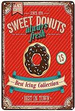 Blechschild Süße Donuts & Pfannkuchen Metall