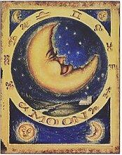 Blechschild Wandbild MOON Metalldeko Motiv Mond Nostalgie Antikstil Malerei