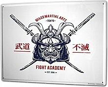 Blechschild XXL Asiatische Kunst Samurai Japan China