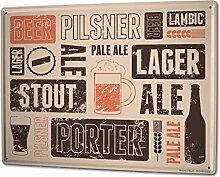 Blechschild XXL Bier Retro Biersorten Partykeller Fun