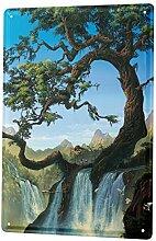 Blechschild XXL Feng Shui Bild G. Huber Fluss Baum