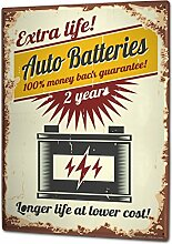 Blechschild XXL Garage Autobatterie Tankstellen
