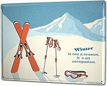 Blechschild XXL Jahreszeiten Winter