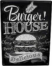 Blechschild XXL Küche Burger House