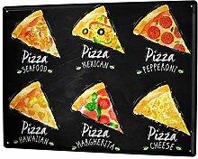 Blechschild XXL Küche Pizza Variationen