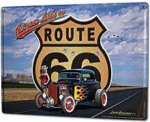 Blechschild XXL Nostalgie Auto Retro Hotrod sexy Frau Flammen Highway