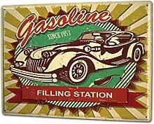 Blechschild XXL Nostalgie Auto Retro Tankstelle