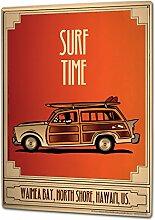 Blechschild XXL Nostalgie Surfzeit Vamea Bay Hawaii Auto