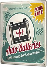Blechschild XXL Oldtimer Auto Autobatterie Longlife