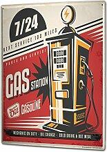 Blechschild XXL Oldtimer Auto Tankstelle 24