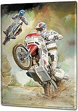 Blechschild XXL Retro Biker Motocross Wheelie