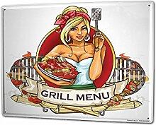 Blechschild XXL Retro Grill-Menü