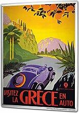 Blechschild XXL Urlaub Reisebüro Griechenland Auto Palmen Orangen