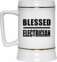 Blessed Electrician - Beer Stein Bierkrug Keramik