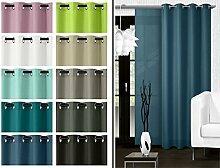 blickdichter Ösenvorhang oder Schiebevorhang - Wohndekoration in elegantem Design – Panamagewebe – grob strukturierter Stoff in 10 Farben, Schiebevorhang, blau
