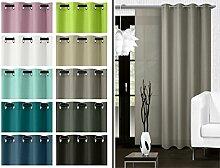 blickdichter Ösenvorhang oder Schiebevorhang - Wohndekoration in elegantem Design – Panamagewebe – grob strukturierter Stoff in 10 Farben, Ösenschal, taupe