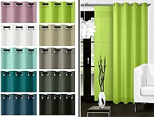 blickdichter Ösenvorhang oder Schiebevorhang - Wohndekoration in elegantem Design – Panamagewebe – grob strukturierter Stoff in 10 Farben, Ösenschal, hellgrün