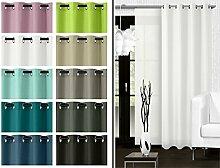 blickdichter Ösenvorhang oder Schiebevorhang - Wohndekoration in elegantem Design – Panamagewebe – grob strukturierter Stoff in 10 Farben, Schiebevorhang, weiß