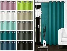 blickdichter Ösenvorhang oder Schiebevorhang - Wohndekoration in elegantem Design – Panamagewebe – grob strukturierter Stoff in 10 Farben, Schiebevorhang, petrol