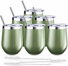 Blingco Weinglas mit Deckel und Strohhalmen,