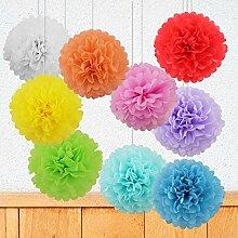 Blitzangebot  9er Set Seidenpapier PomPoms Papierblumen Hochzeit Geburtstag Feier Party Baby Shower Dekoration Deko - Rote Rosa Orange Gelb Grün Hellblau Blau Lila Weiß, 20cm - 9 Farbe