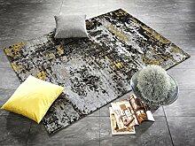 BLIZZARD moderner Designer Teppich in grau-gelb,