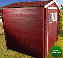 Blockbohlen Gartenhaus 19 mm Wien in Rot lackiert inkl. Dachpappe - Maße: 216 x 206 cm (L x B)