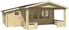 Blockhaus ANKARA 440 + 154 x 440cm + Veranda Gartenhaus 58mm Holzhaus