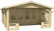 Blockhaus SOFIA 440 + 150 x 340cm + Veranda Gartenhaus 58mm Holzhaus