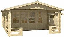 Blockhaus SOFIA 440 + 150 x 340cm + Veranda