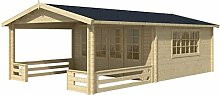 Blockhaus SPLIT 440 x 440cm + Veranda Gartenhaus 58mm Holzhaus