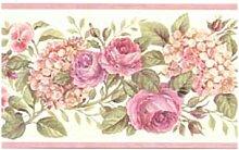 Blooming lila Rosen auf Vine Floral Tapete