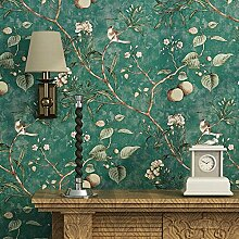 Blooming Wall Vintage Blumen Bäume Vögel Tapete