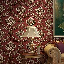 Blooming Wand rot damasks Beflockung geprägt Strukturierte Tapete Rolle für Wohnzimmer Schlafzimmer, 20,8in32.8FT = 57SQ FT Pro Rolle, gold/ro