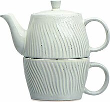 Bloomingville Grey Debossed Stoneware Tea (Set of