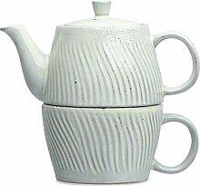 Bloomingville Grey Debossed Stoneware Tea (Set of