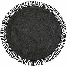 Bloomingville - Jute Teppich, Ø 120 cm, schwarz