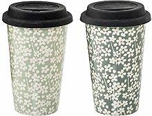 Bloomingville Kaffeebecher mit Deckel Seeke 2er Se