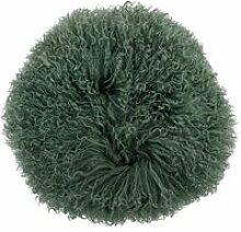 Bloomingville - Lammfell-Kissen Ø 35 cm, grün