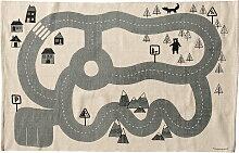 Bloomingville - Spielteppich Verkehr, beige/ grau